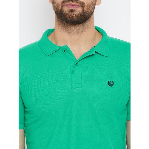 Duke Men Green Solid Polo Collar T-shirt