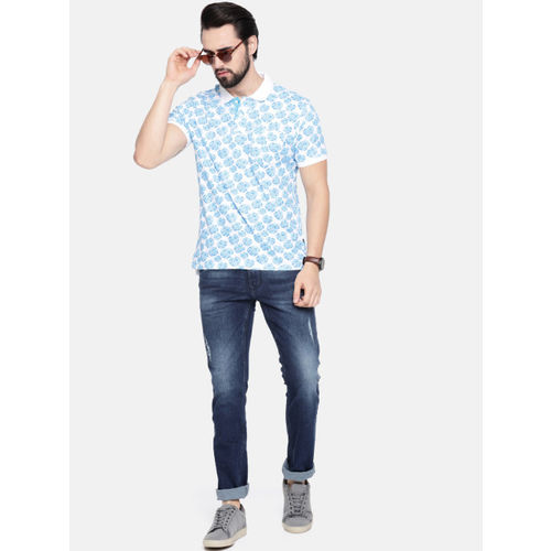 Parx Men Blue & White Printed Polo Collar T-shirt