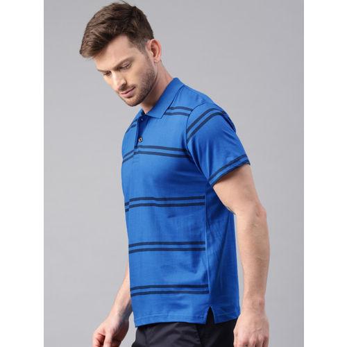 Kryptic Men Blue Striped Polo T-shirt