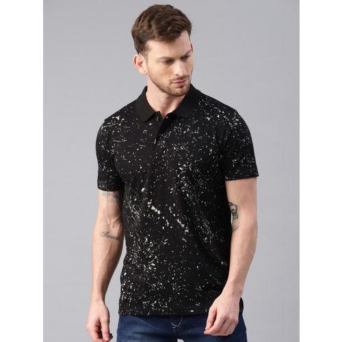 Kryptic Men Black & Grey Printed Polo T-shirt