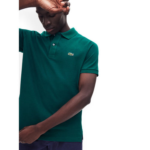 Lacoste Men Green Solid Polo Collar T-shirt