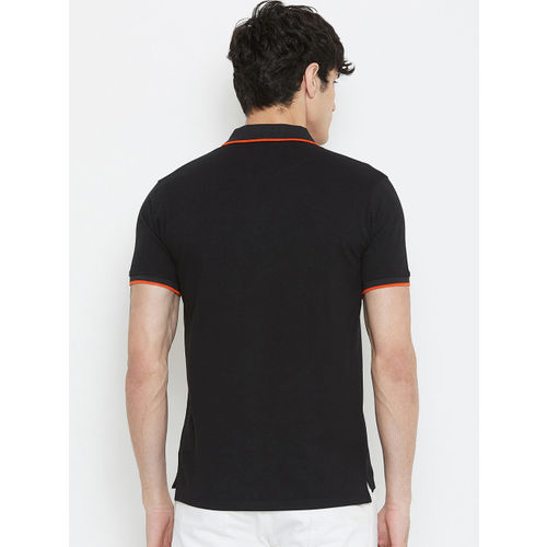 Wear Your Mind Men Black Printed Polo Collar T-shirt