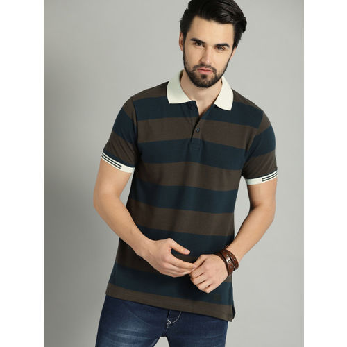 Roadster Men Olive Green & Navy Striped Polo Collar T-shirt