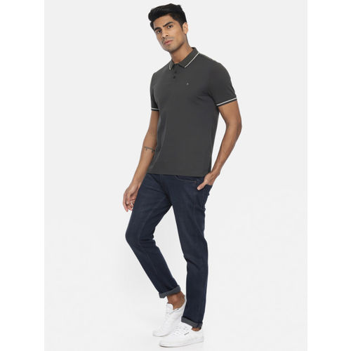 Calvin Klein Jeans Men Charcoal Grey Solid Polo T-shirt