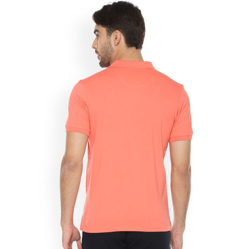 Allen Solly Men Peach-Coloured Printed Polo Collar T-shirt