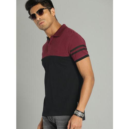 Roadster Men Maroon & Black Colourblocked Polo Collar T-shirt