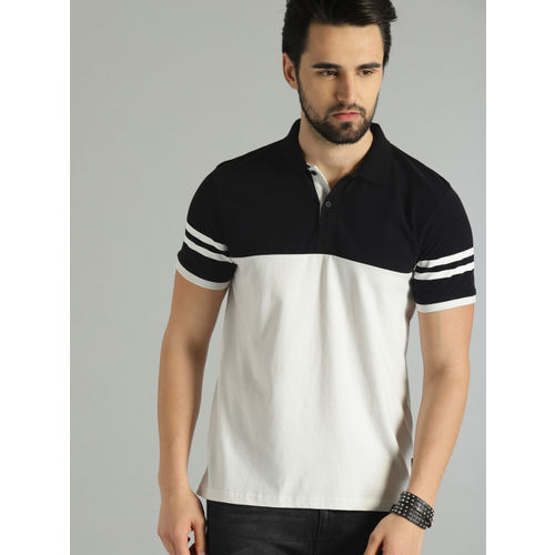 Roadster Men Black & White Colourblocked Polo Collar T-shirt