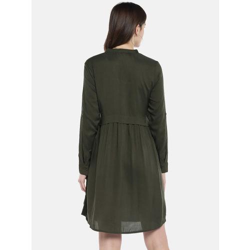 Globus Olive Green Solid Shirt Dress