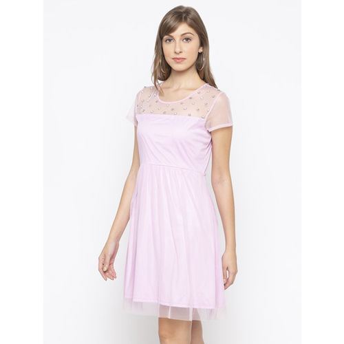 Globus Women Solid Pink Fit and Flare Dress