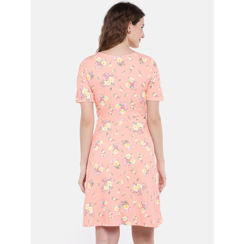 Globus Women Peach-Coloured Printed Fit and Flare Dress