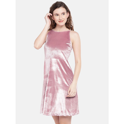 Globus Pink Solid Fit and Flare Dress