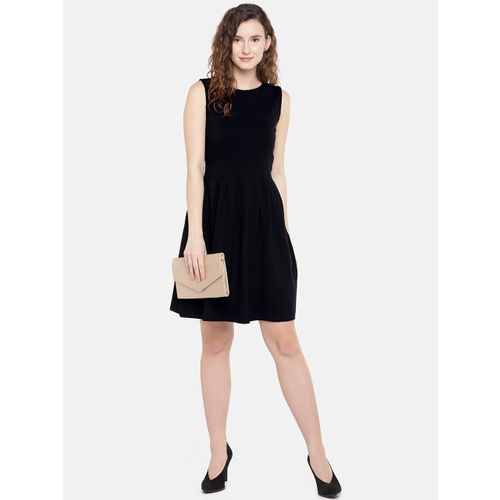 Globus Women Black Solid A-Line Dress