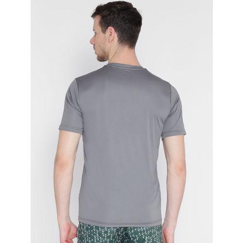 Alcis Men Grey Solid Round Neck Dri-FIT T-shirt