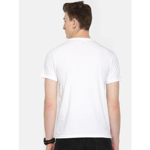 Lee Men White Solid Round Neck T-shirt