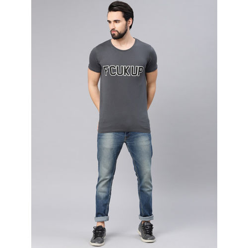 French Connection Men Charcoal Grey Printed Round Neck T-shirt