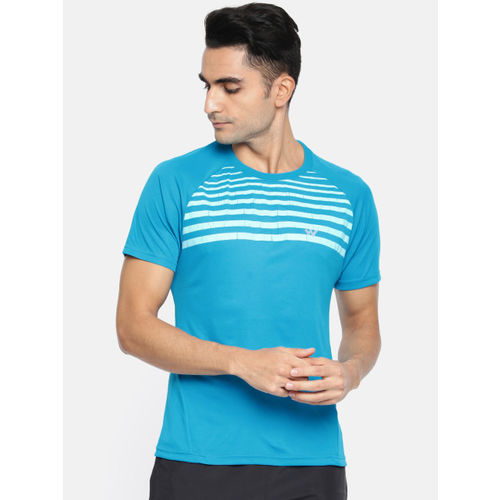 Wildcraft Men Blue Striped Round Neck Poly Crew 2 T-shirt