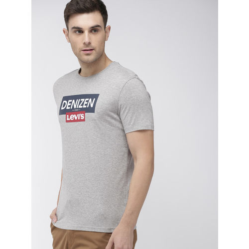 Denizen From Levis Men Grey Melange Printed Round Neck T-shirt