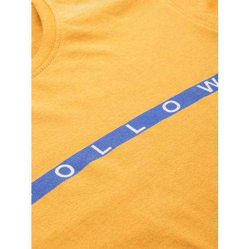 ether Men Mustard Yellow Solid Round Neck T-shirt