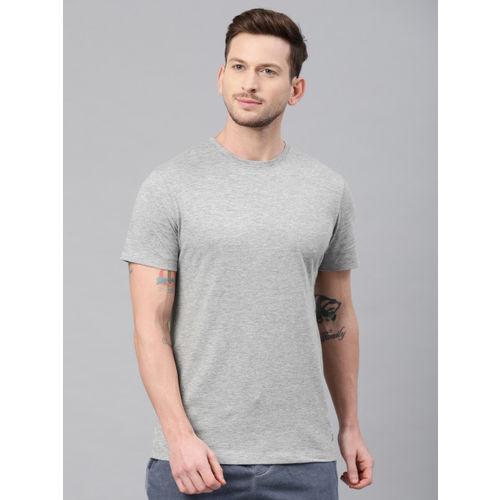 HRX by Hrithik Roshan Men Grey Melange Solid Round Neck T-shirt