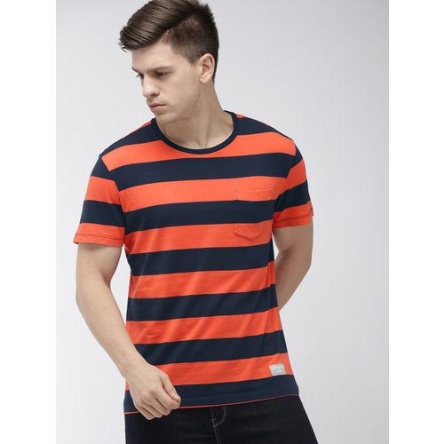 Denizen From Levis Men Orange & Navy Blue Striped Round Neck T-shirt