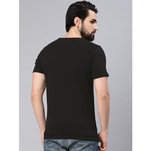 French Connection Men Black Slim Fit Printed Round Neck T-shirt