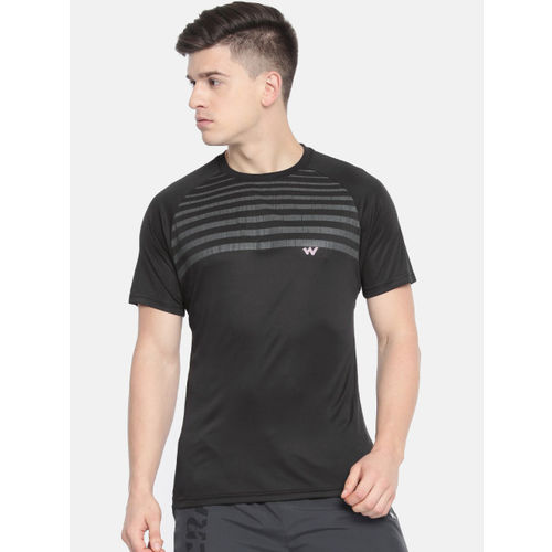 Wildcraft Men Black & Grey Striped Round Neck Poly Crew 2 T-shirt