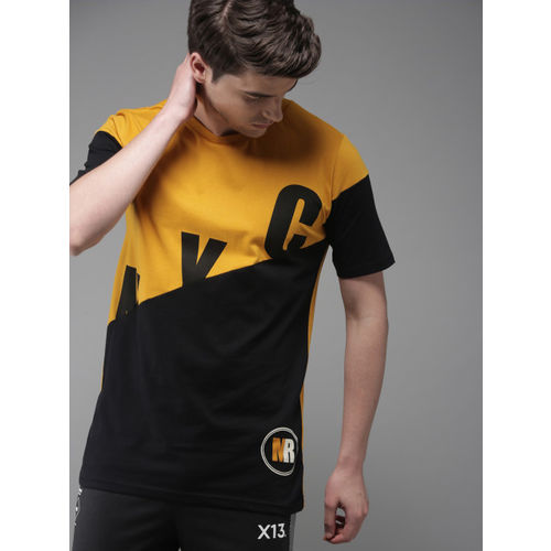 Moda Rapido Men Mustard Yellow & Black Colourblocked Round Neck T-shirt