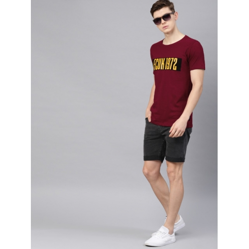 French Connection Men Red & Yellow Printed Round Neck T-shirt
