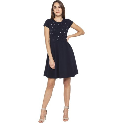 Globus Women Fit and Flare Blue Dress
