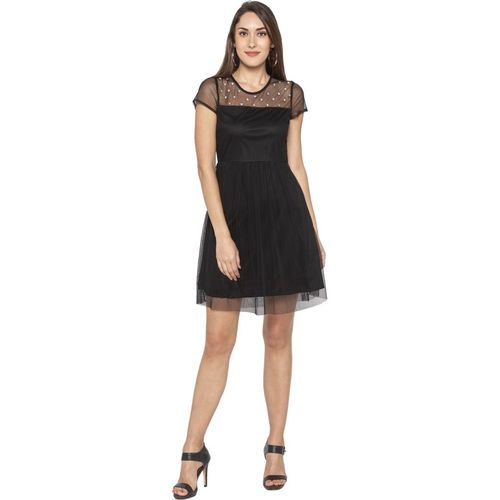 Globus Women Fit and Flare Black Dress