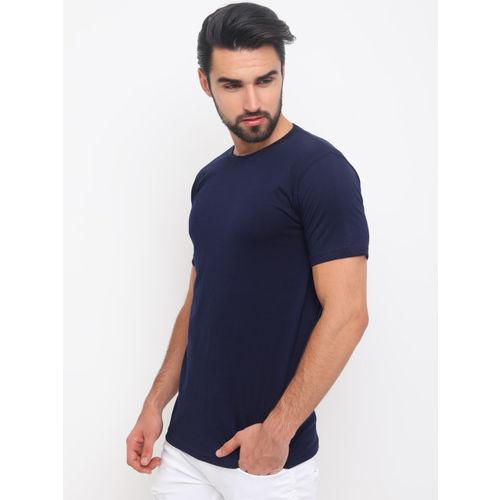 Bushirt Men Navy Blue Solid Round Neck T-shirt