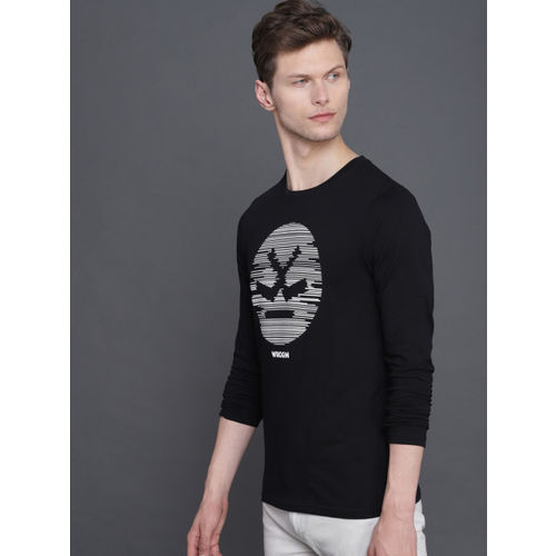 WROGN Men Black Slim Fit Printed Round Neck T-shirt