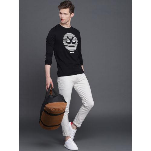 WROGN Men Black Slim Fit Printed Round Neck T-shirt