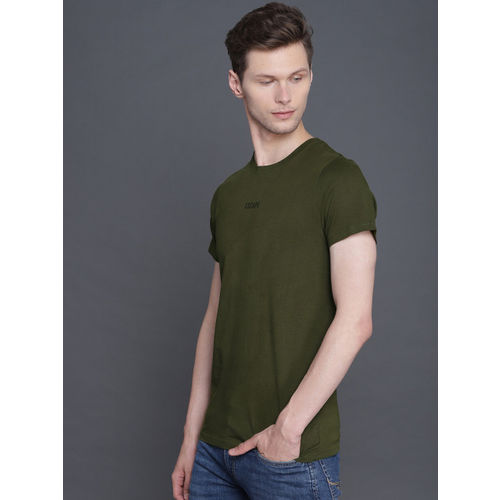 WROGN Men Olive Green Printed Round Neck T-shirt