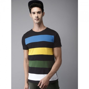 ffb96f357ef Buy Urbano Fashion Striped Men Round Neck Maroon, Grey, Dark Blue T ...