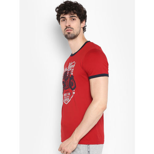 KVL Men Red Printed Round Neck T-shirt