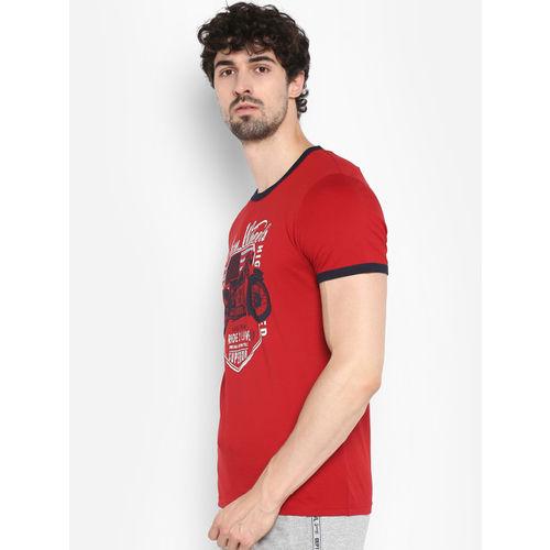 KVL Men Red Printed Round Neck T-shirt
