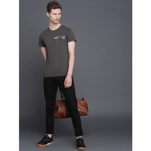 WROGN Men Grey Melange Slim Fit Solid Round Neck T-shirt