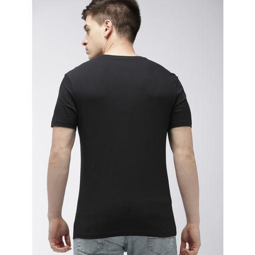 Denizen From Levis Men Black & White Printed Round Neck T-shirt