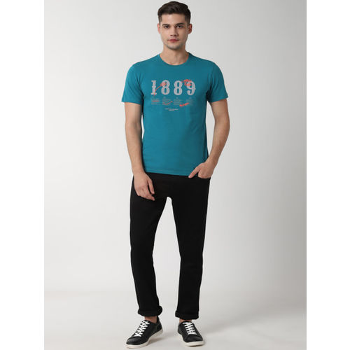 Peter England Casuals Men Blue Printed Round Neck Slim Fit T-shirt