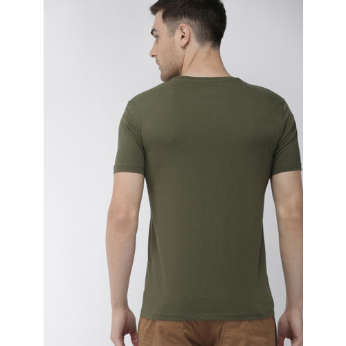 Denizen From Levis Men Olive Green Printed Round Neck T-shirt