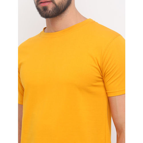 Bushirt Men Mustard Solid Round Neck T-shirt