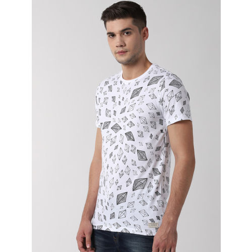 Peter England Casuals Men White Printed Round Neck Slim Fit T-shirt