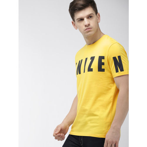 Denizen From Levis Men Yellow & Black Printed Round Neck T-shirt
