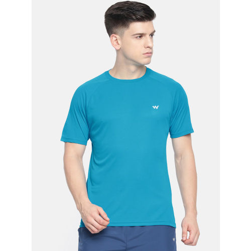 Wildcraft Men Blue Solid Round Neck Poly Crew 3 T-shirt