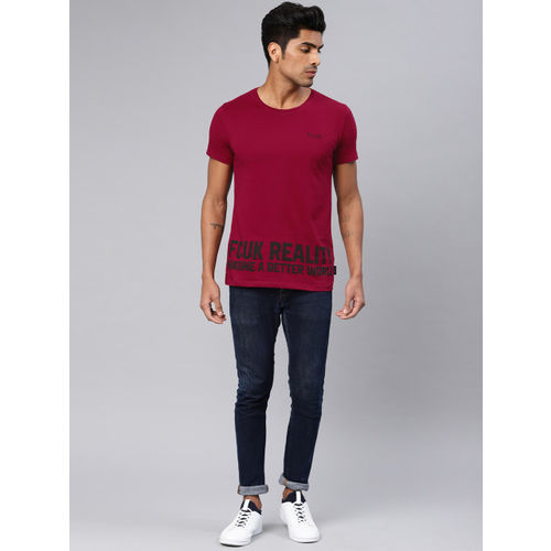 French Connection Men Red Slim Fit Printed Round Neck T-shirt