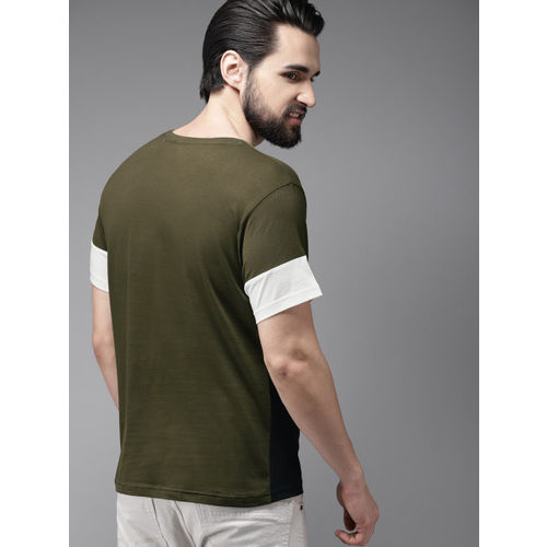 HERE&NOW Men Olive Green & White Colourblocked Round Neck T-shirt