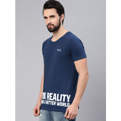 French Connection Men Blue Slim Fit Printed Round Neck T-shirt