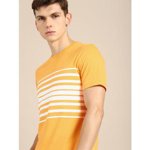 ether Men Yellow & White Striped Round Neck T-shirt