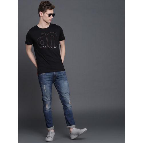 WROGN Men Black Printed Round Neck T-shirt